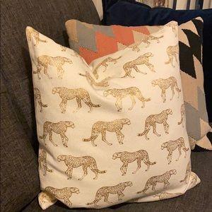 Gold Cheetah Print Throw Pillow